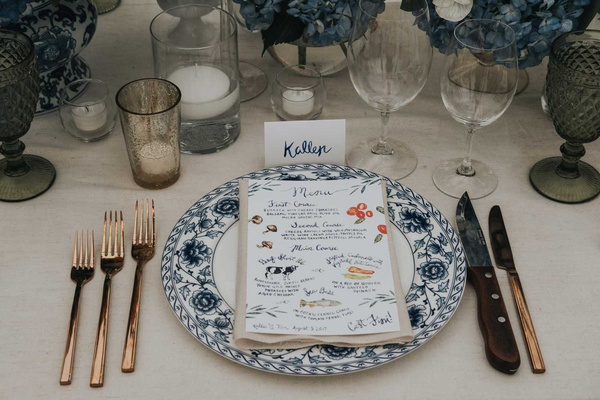 wedding reception place setting blue and white plate with illustration menu calligraphy escort cards