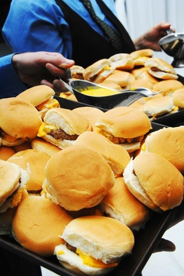Cheeseburger late night snacks at wedding reception