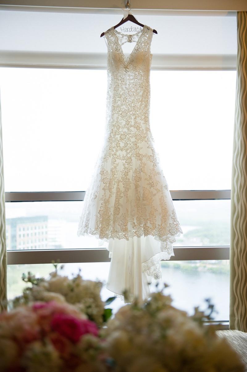Wedding Dresses Photos - Floral Lace Bridal Gown on Hanger - Inside ...