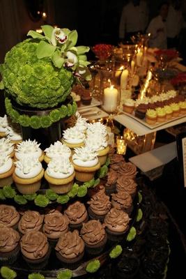 Chocolate and vanilla wedding cupcake tiered stand
