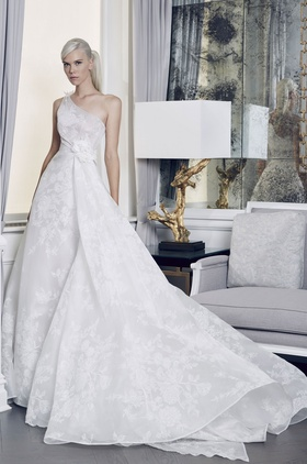 Romona Keveza Fall 2018 bridal collection one shoulder organza ball gown
