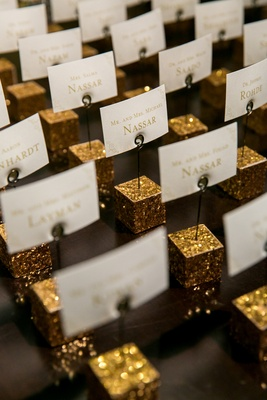 escort place cards gold cube holders shimmery classic wedding washington dc fun