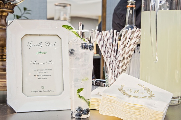 Signature drink menu stripe straw lemonade cocktail monogram napkin wedding hashtag sign