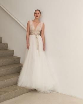 Francesca Miranda Spring 2019 collection a-line gown with v-neckline lace and ribbon
