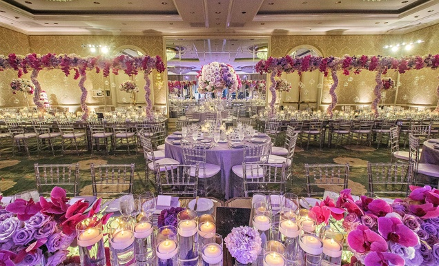 Glamorous Outdoor Ceremony + Ballroom Reception with Purple Details