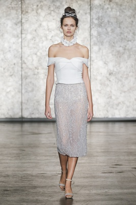 Inbal Dror Fall 2018 Two-piece off-the-shoulder top with fully beaded pencil skirt