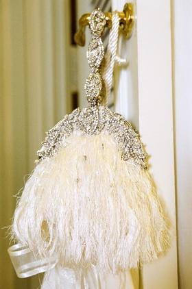 Feather tassels and crystals on bridal bag