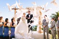 Bride in Demetrios, groom in Ermenegildo Zegna, doves released at the end of ceremony
