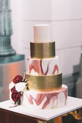 wedding cake, marble burgundy tier, gold tier, white top tier