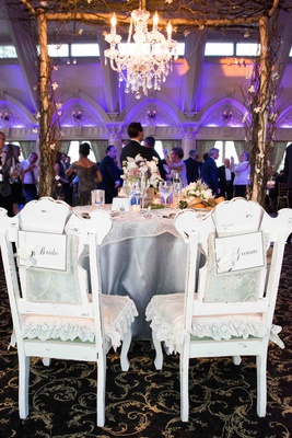 Shabby chic bride and groom reception chairs with lace pillows