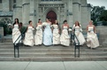 Bridesmaids in dress with baby blue sash