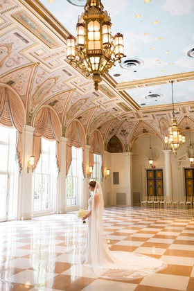 bride in pronovias atelier wedding dress, wedding at the breakers palm beach
