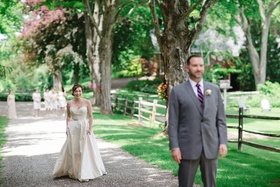 bride in Romona Keveza Legends Collection L267, groom in brooks brothers, first look