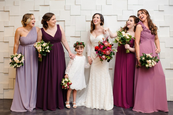 Purple and red mismatched bridesmaid dresses