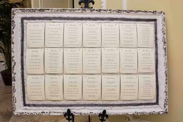 Table numbers pinned to white framed bulletin board