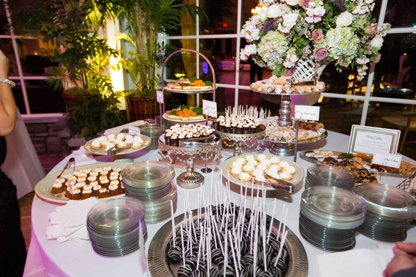 Viennese hour sweets table at wedding reception