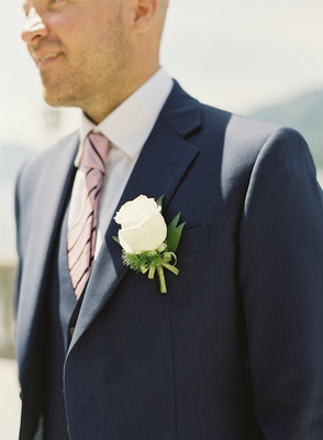 destination wedding lake como navy blue suit pink striped tie white rose boutonniere on lapel