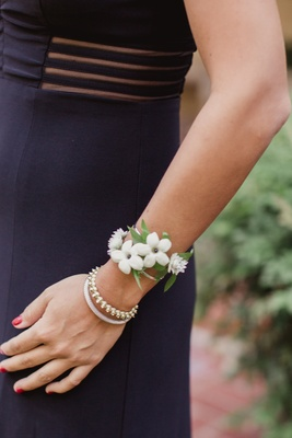 southern wedding house party corsage stephanotis blossoms