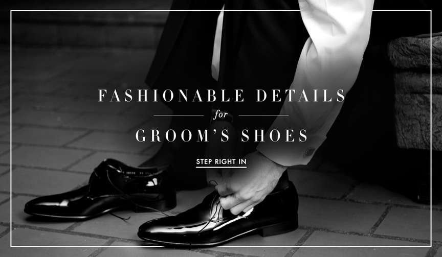 Black and white photos of groom lacing patent-leather dress shoes