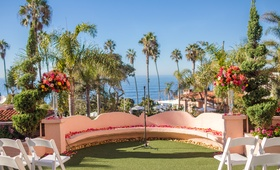 vibrant seaside ceremony venue florals la valencia hotel la jolla california spanish influences