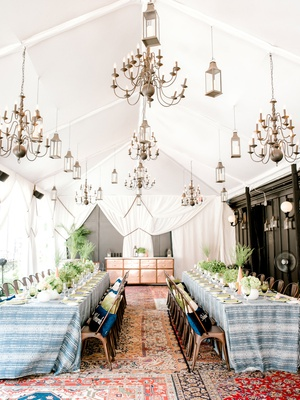 bridal shower at nomad hotel rooftop new york summer low centerpiece two long tables industrial
