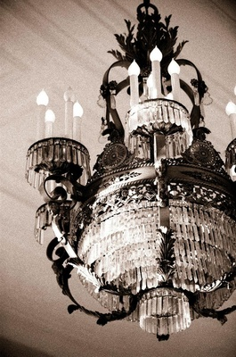 Black and white photo of vintage light fixture