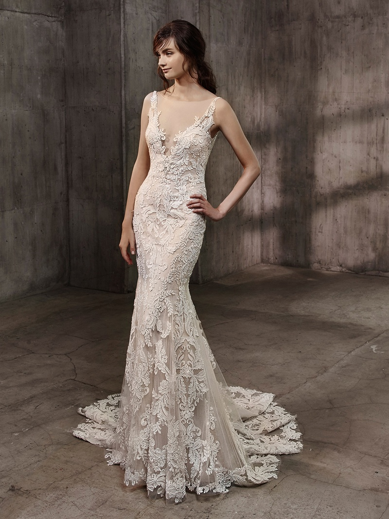 Badgley Mischka Bride Collection 2017 Aubree Wedding Dress Lace Embroidery Illusion Plunging Neck
