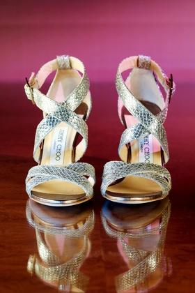 Strappy peep toe open toe sandals Jimmy Choo silver scale fabric