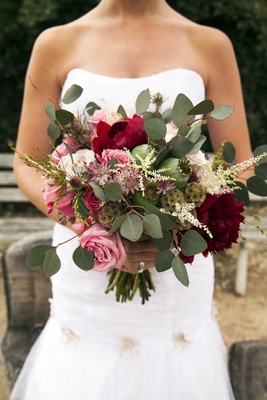 Flower Duet Wedding Bouquet rustic marsala
