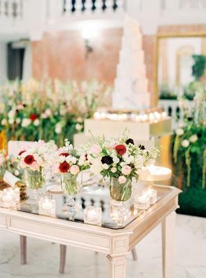 wedding reception sweetheart table mariana paola vicente kike hernandez mirror table burgundy flower
