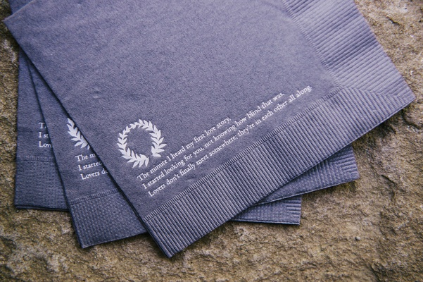 gray napkins with poem printed on them
