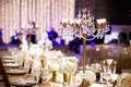 Long sequin table topped with crystal candelabra