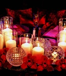 Crystal votive candle holders and orchids