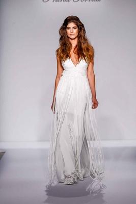 Pnina Tornai for Kleinfeld 2016 deep v wedding dress with fringe empire waist skirt