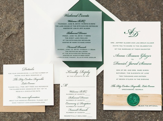 Rustic elegant wedding invitation suite green envelope liner and calligraphy wax seal with stamp