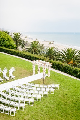 bel air bay club wedding, outdoor wedding ceremony on lawn overlooking beach and ocean