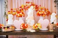 Bridal shower dessert table with three cakes and heart shape merengue sweets veuve clicquot champs