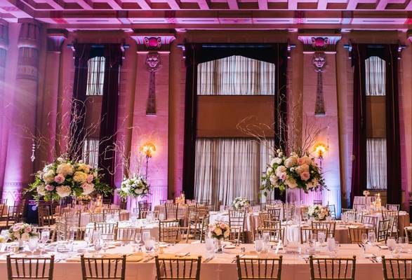 Jewish ceremony reception with touches of 1920s glam in atlanta wedding reception at the fox theatre in atlanta violet lighting historic wedding venue junglespirit Image collections