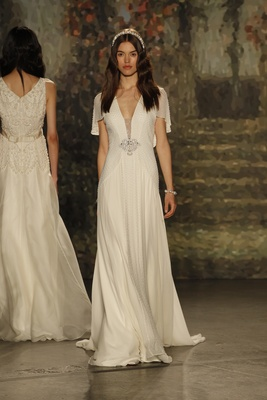 """pearl-beaded """"juliet"""" dress with draped sleeves by jenny packham"""