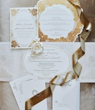 wedding invitation suite gold rose flower motif design die cut invitation menu card and envelopes