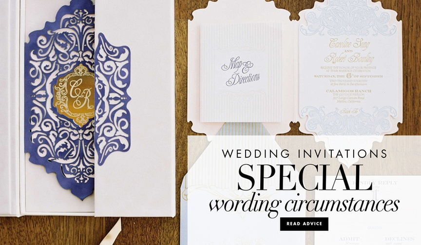 Wedding invitation special wording circumstances