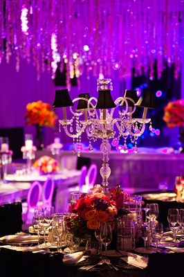 Crystal candlestick with mini black lampshades for centerpiece