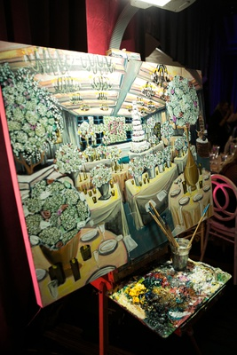 live event painting of wedding reception, custom painting of wedding reception