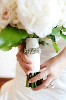 White and blush bouquet with crystal band