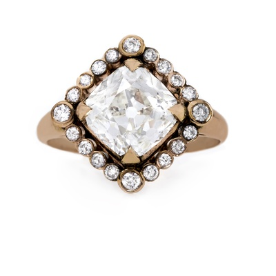 claire pettibone and trumpet and horn equinox engagement ring, kite set diamond with halo