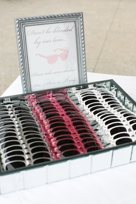 Wedding favors with Don't Be Blinded By Our Love sign