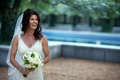Bride in Peter Langner wedding dress and veil