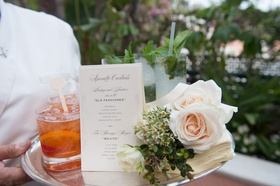 Wedding reception cocktail hour signature drinks his old fashioned hers mojito fresh mint roses