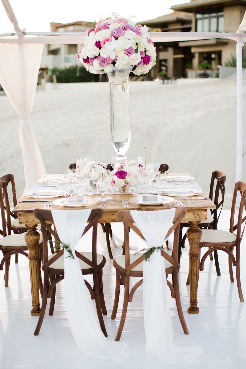 Reception Décor Photos - Square Wood Table with Lace Runner - Inside ...