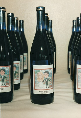 Custom wine bottle labels for wedding favors